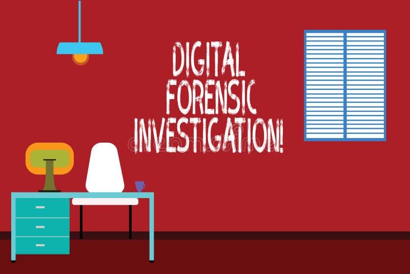 Tekst szyldowy pokazuje Cyfrowy Sądowy dochodzenie Konceptualny fotografii wyzdrowienie informacja od komputeru Work Space minima ilustracja wektor