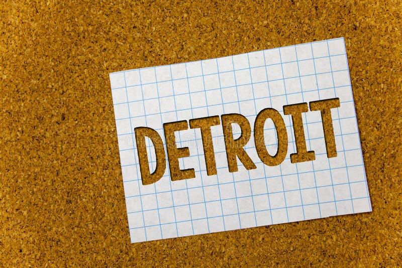 Tekst szyldowy pokazuje Detroit Konceptualny fotografii miasto w Stany Zjednoczone Ameryka kapitał Michigan Motown korka tła note fotografia stock