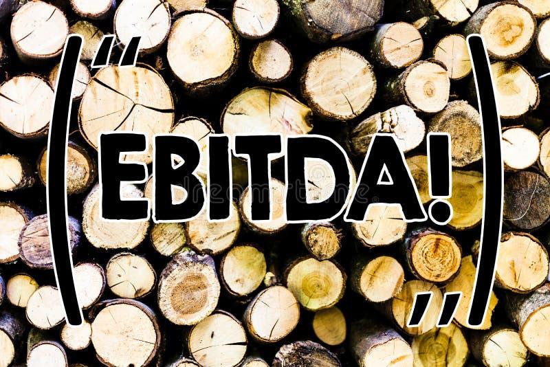 Tekst szyldowy pokazuje Ebitda E obrazy stock