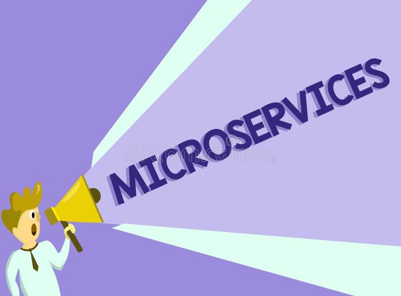 Tekst szyldowy pokazuje Microservices Konceptualna fotografii rozwój oprogramowania technika Buduje pojedynczego funkcja moduł ilustracji