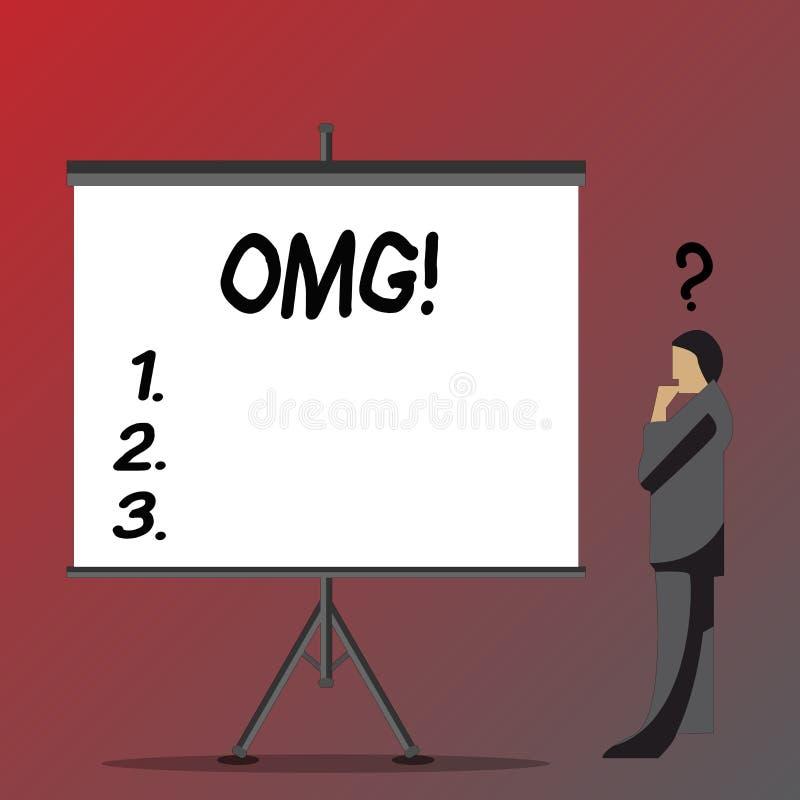 Tekst szyldowy pokazuje Omg Konceptualna fotografia Oh mój dobrego skrótu Nowożytnego zdziwienia wyrażeniowy biznesmen z pytaniem royalty ilustracja