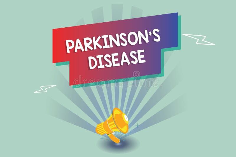 Tekst szyldowy pokazuje Parkinson s jest chorobą Konceptualny fotografia układu nerwowego nieład który wpływa ruchu ilustracja wektor