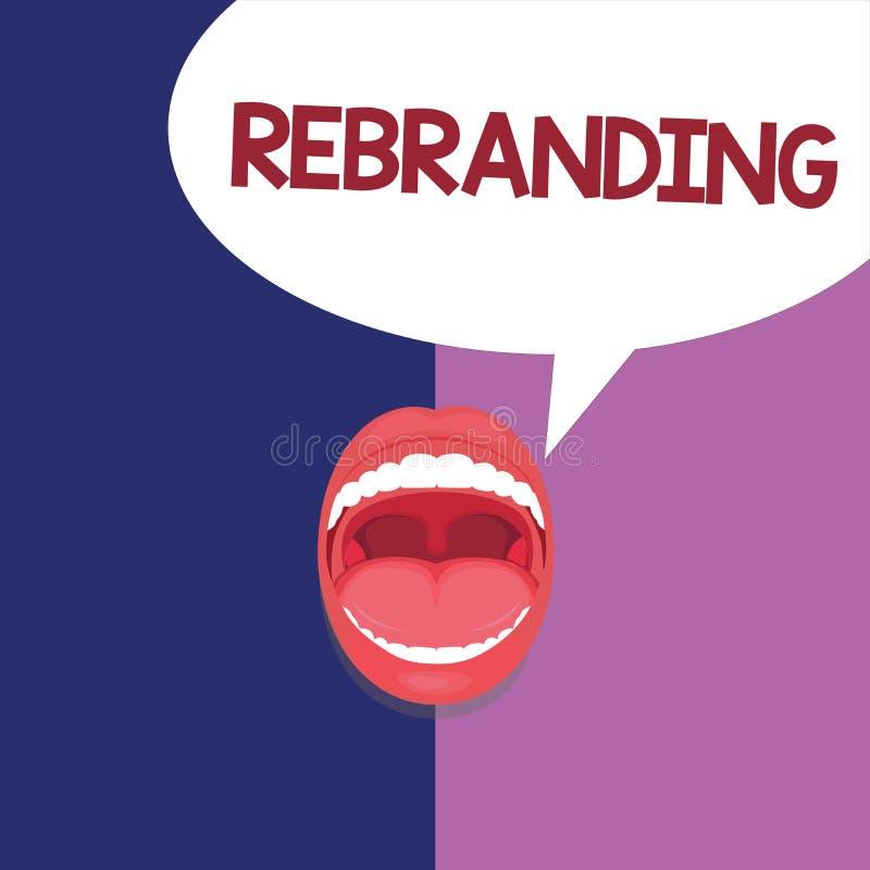 Tekst szyldowy pokazuje Rebranding Konceptualnej fotografii zmiany korporacyjny wizerunek firmy organizaci strategia marketingowa ilustracji