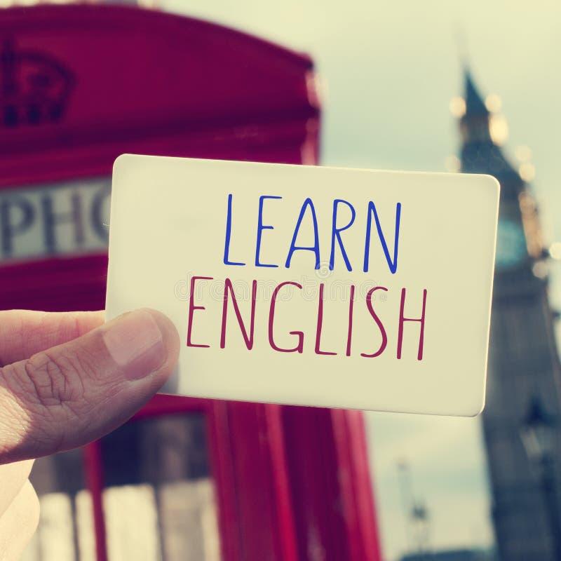 Tekst uczy się anglików w signboard z Big Ben w backgr obraz royalty free
