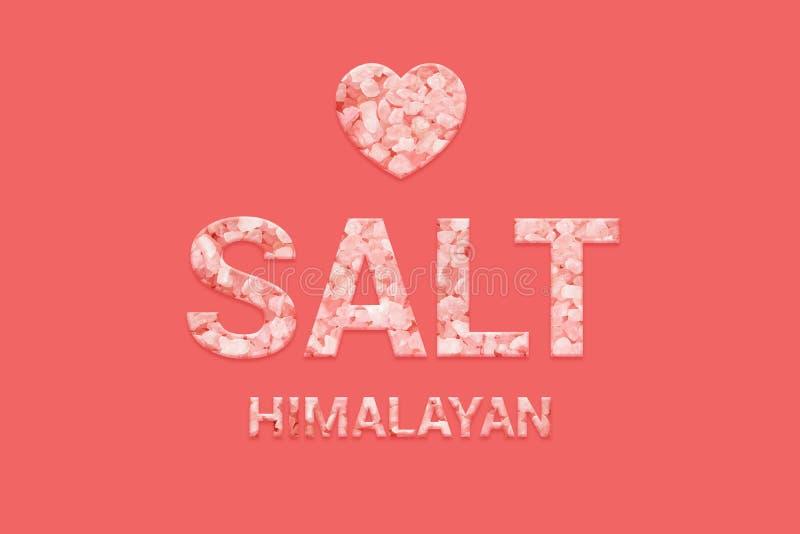 Tekst van de Himalayan de zoute textuur op roze achtergrond Veganist, Vegetarisch, Super voedsel en detox voedsel stock illustratie
