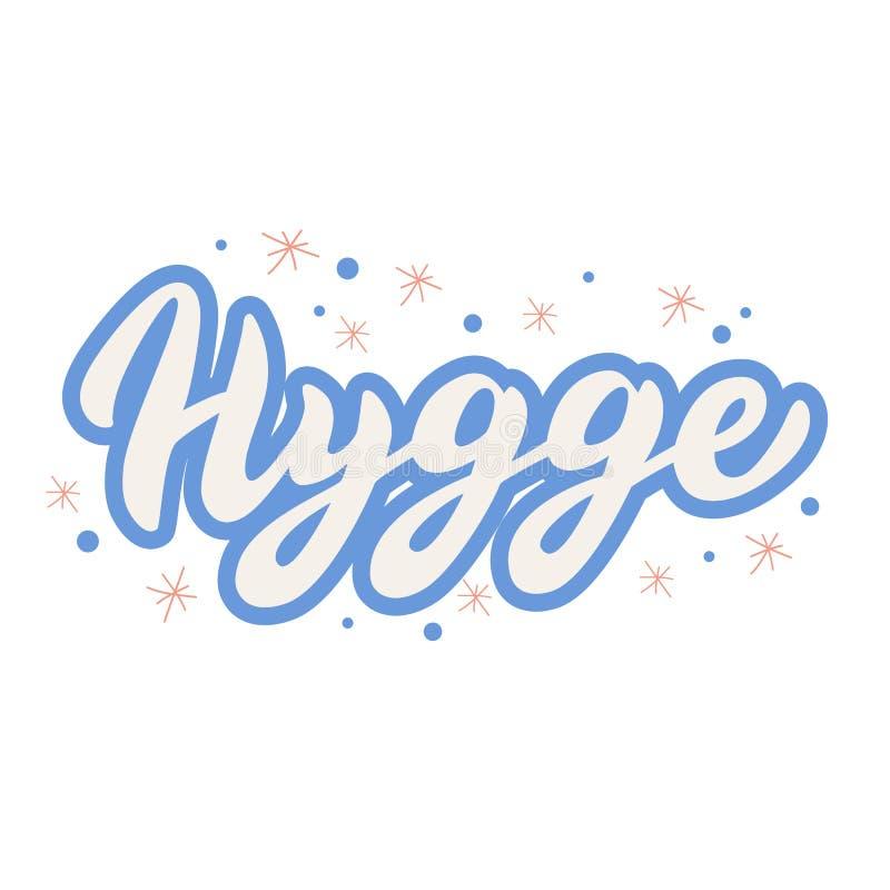 Tekst van de Hygge de van letters voorziende doopvont Boekdekking in in ontwerp Skandinavisch comfortabel levensstijlconcept Vect stock illustratie