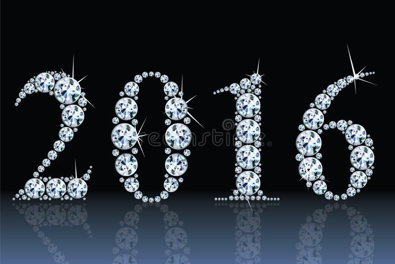 Tekst van diamanten 2016 vector illustratie