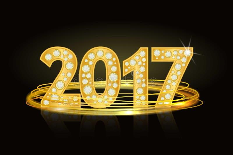 Tekst van diamanten 2017 Nieuw jaar Aantallen, aantal, datum stock illustratie