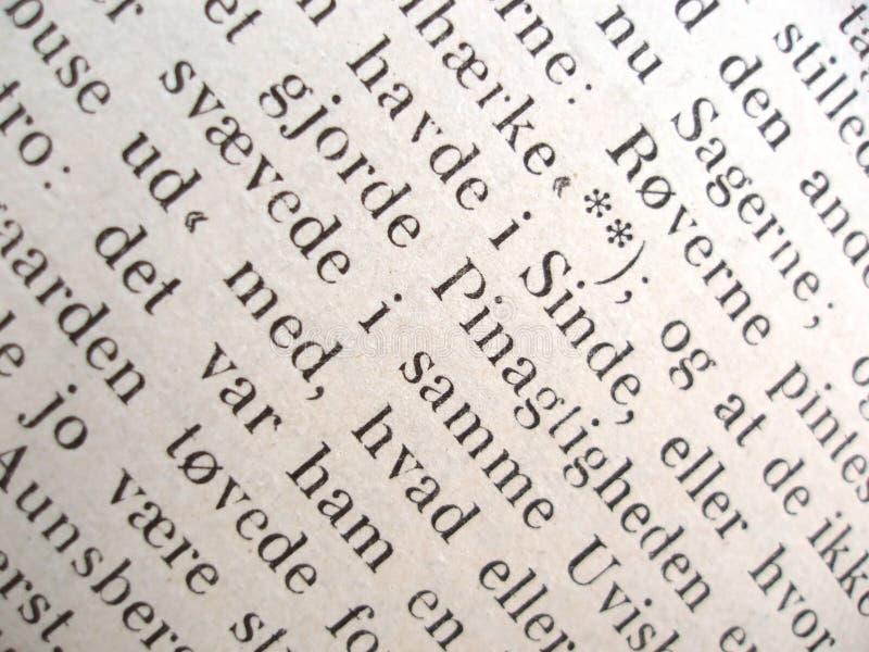 Tekst van een oud boek stock foto
