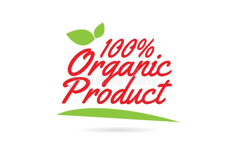 100% tekst van het biologisch product de hand geschreven woord voor typografieontwerp in rood vector illustratie