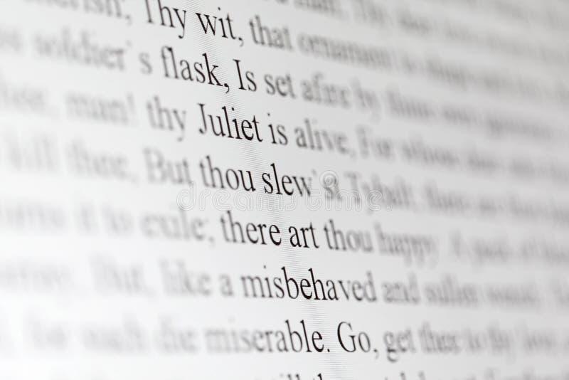 Tekst van het dramaCharmeur en Juliet van Shakespeare stock foto