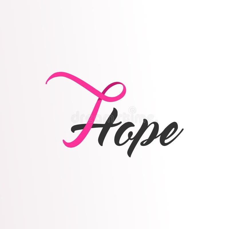 Tekst van het hoop de Roze lint voor de Voorlichting van Borstkanker royalty-vrije illustratie