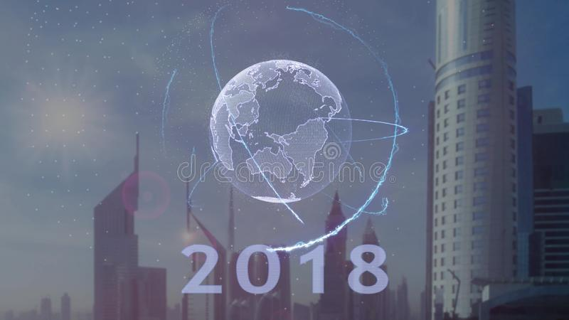 2018 tekst z 3d hologramem planety ziemia przeciw t?u nowo?ytna metropolia ilustracji