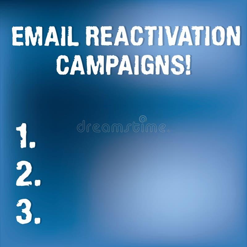 Teksta emaila reaktywacji szyldowe pokazuje kampanie Konceptualna fotografia Wywoływał emaila dla sypialnych abonentów Rozmytego  royalty ilustracja