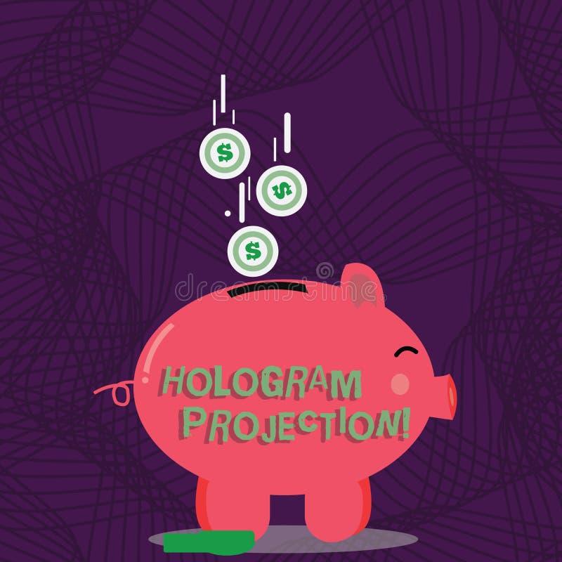 Teksta holograma szyldowa pokazuje projekcja Konceptualnej fotografii fotograficzna projekcja nagranie lekkiego koloru prosiątko royalty ilustracja