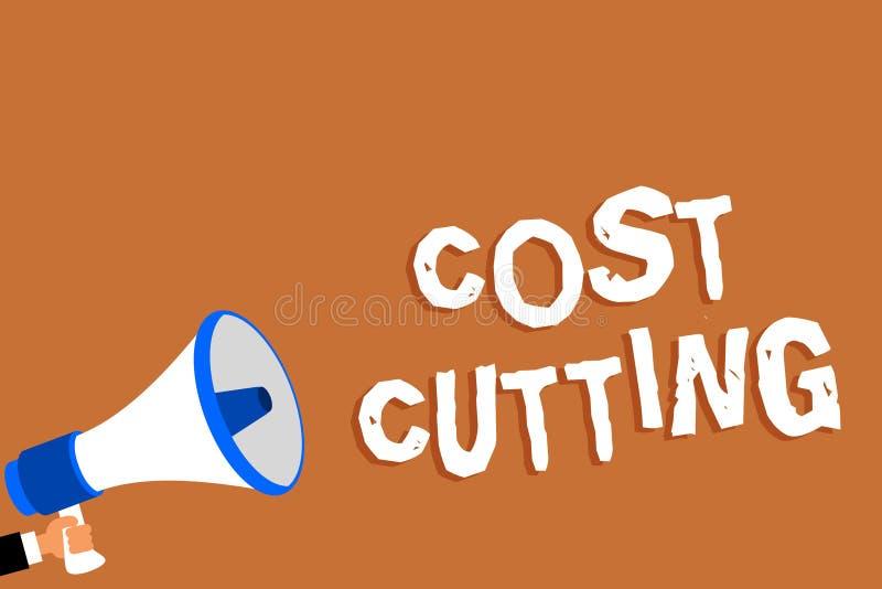 Teksta kosztu szyldowy pokazuje rozcięcie Konceptualne fotografii miary uprawomocniali obniżeni koszty i ulepszający zysku mężczy royalty ilustracja