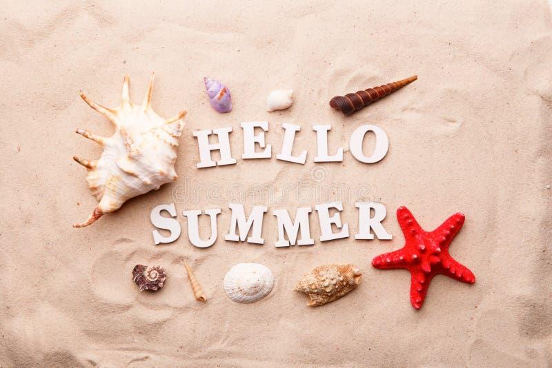 Teksta lato od biel list?w, morze rozgwiazda na piasku i skorupy Cze?? i obrazy royalty free