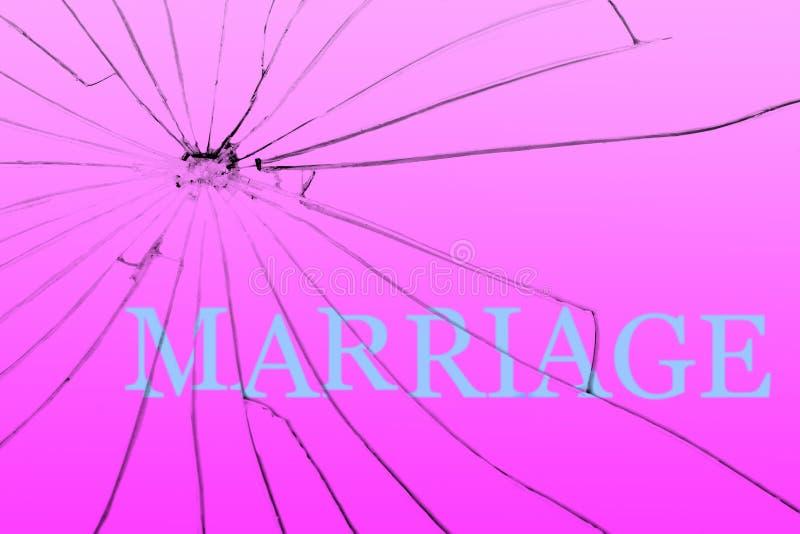 Teksta małżeństwo na łamanym szkle rozwód Samotności pojęcie fotografia stock