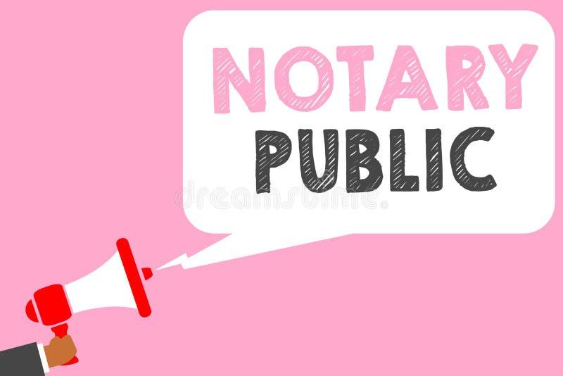 Teksta notariusza szyldowy pokazuje społeczeństwo Konceptualny fotografii legalności dokumentaci autoryzaci certyfikata Kontrakta royalty ilustracja