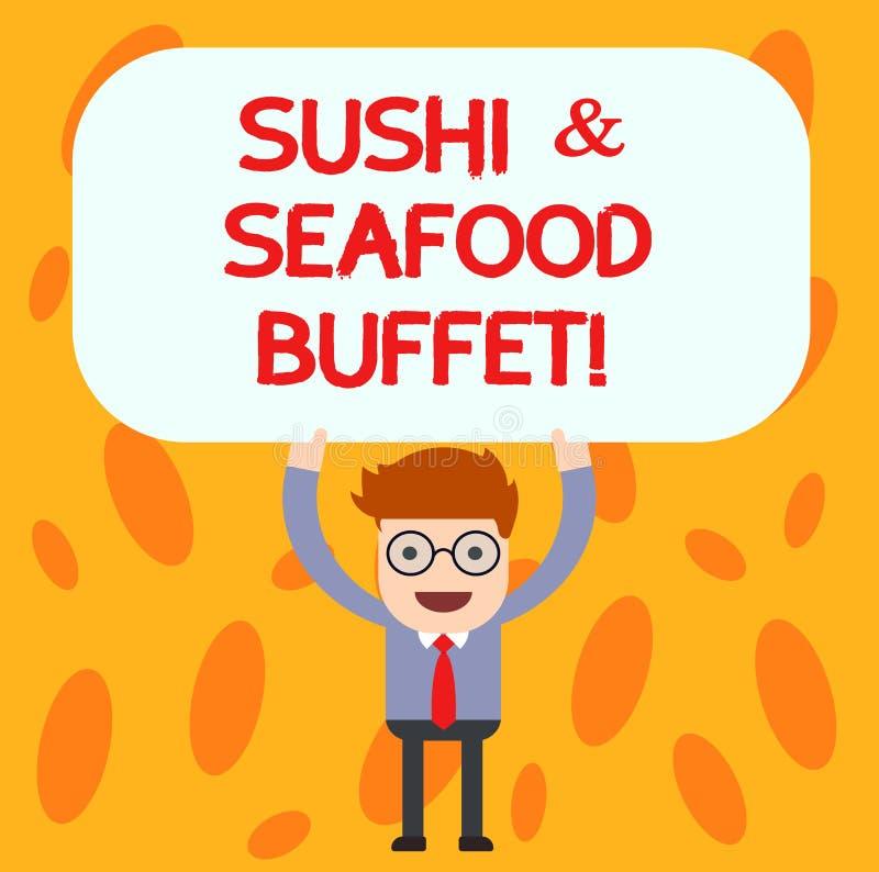 Teksta owoce morza I suszi szyldowy pokazuje bufet Konceptualnej fotografii Japońscy karmowi rybi naczynia dostępni dla wybierają royalty ilustracja