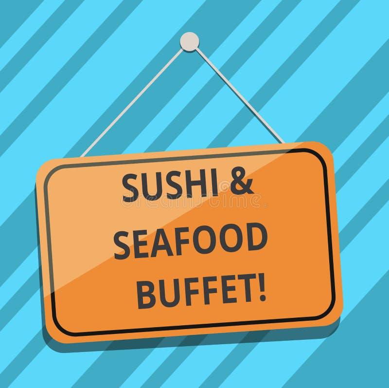 Teksta owoce morza I suszi szyldowy pokazuje bufet Konceptualnej fotografii Japońscy karmowi rybi naczynia dostępni dla wybierają ilustracja wektor