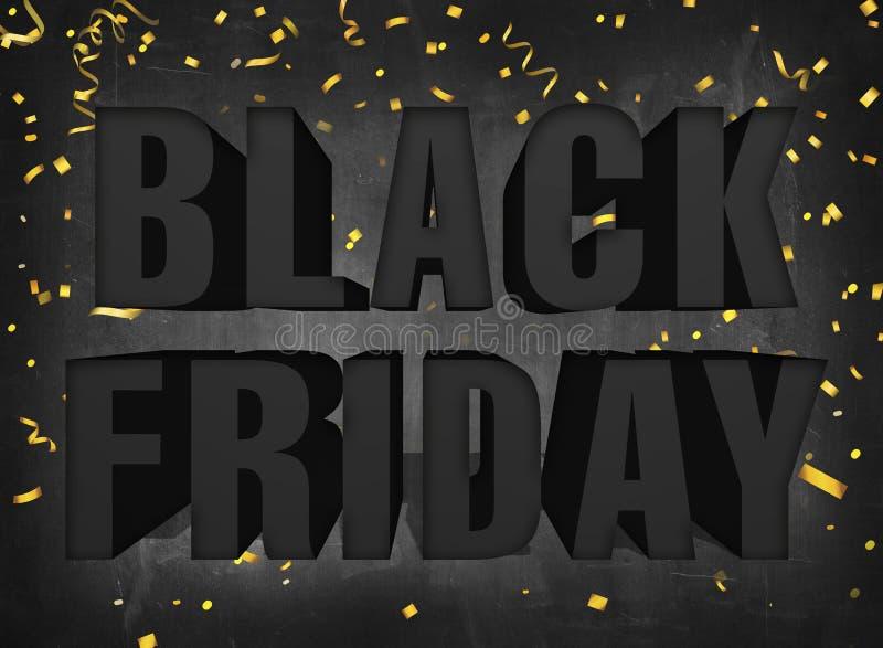 Teksta Piątku sprzedaży czarny duży znak na ciemnych blackboard tła wi zdjęcie stock