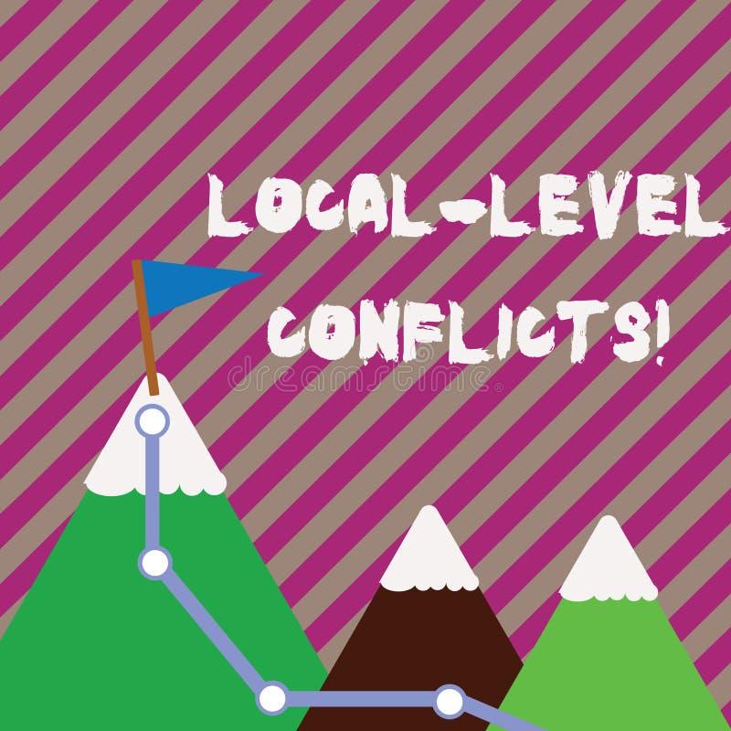 Teksta pozioma lokalnego szyldowi pokazuje konflikty Konceptualna fotografia tworzy lokalnych bodzów psuć proces Trzy góry royalty ilustracja