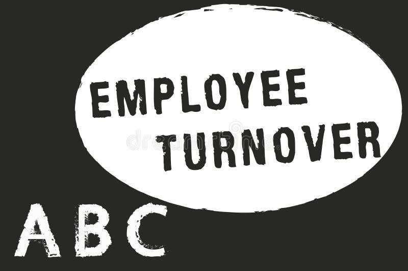 Teksta pracownika szyldowy pokazuje obrót handlowy Konceptualna fotografii liczba lub odsetek pracownicy które opuszczają organiz royalty ilustracja