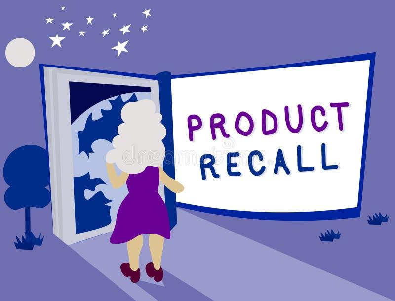 Teksta produktu szyldowy pokazuje odwoływanie Konceptualna fotografii prośba wracać produkt należnego niektóre zagadnienie firmą royalty ilustracja