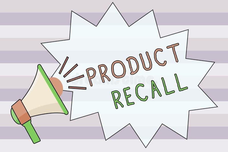 Teksta produktu szyldowy pokazuje odwoływanie Konceptualna fotografii prośba wracać produkt należnego niektóre zagadnienie firmą ilustracja wektor