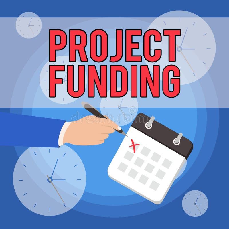 Teksta projekta szyldowy pokazuje finansowanie Konceptualna fotografia płaci dla zaczyna w górę rozkazu w robi mu duża i pomyślna ilustracji