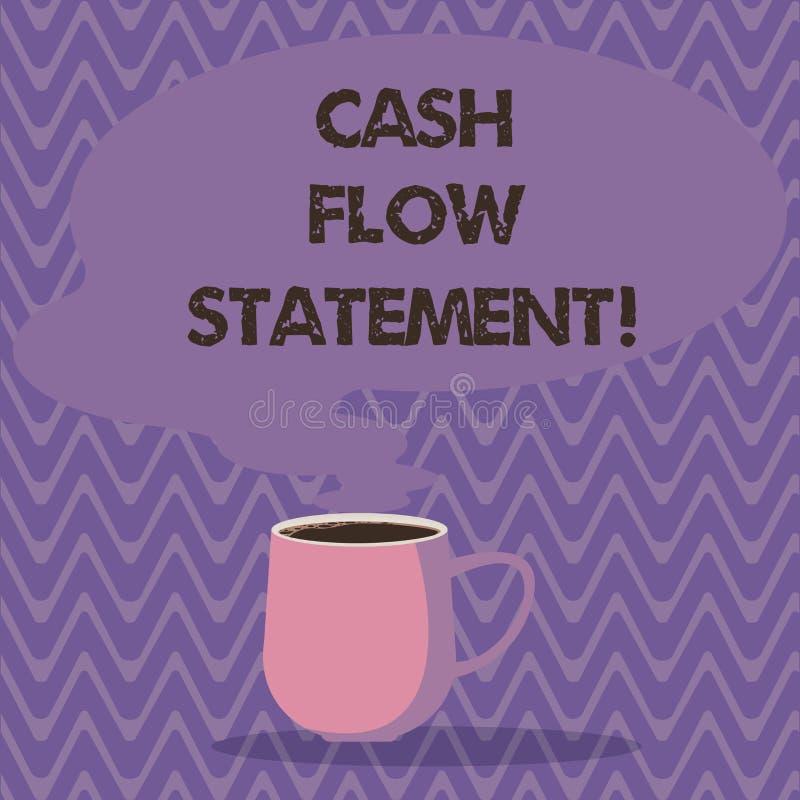 Teksta przepływu gotówkiego szyldowy pokazuje oświadczenie Konceptualnej fotografii gotówki pieniężne miary wytwarzali używają fi ilustracji