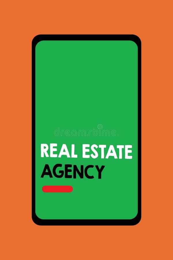 Teksta Real Estate szyldowa pokazuje agencja Konceptualnej fotografii Biznesowa jednostka Układa bubla czynszu arendę Kieruje wła ilustracji
