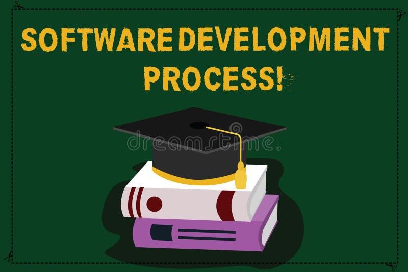 Teksta rozwój oprogramowania szyldowy pokazuje proces Konceptualny fotografia proces rozwijać produkt oprogramowania kolor ilustracja wektor