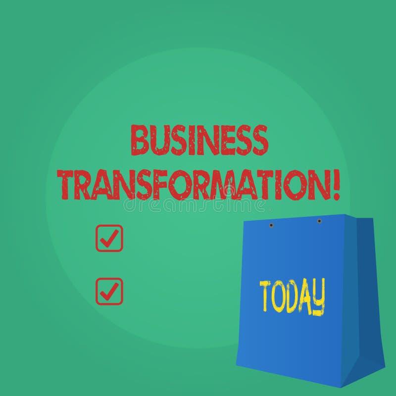 Teksta seansu biznesu szyldowa transformacja Konceptualna fotografia Robi zmianom w conduction firmy ulepszenie ilustracji