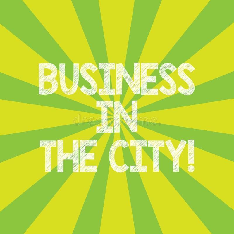 Teksta seansu szyldowy biznes W mieście Konceptualnych fotografii Miastowych firm Fachowi biura w miasta Sunburst fotografii royalty ilustracja