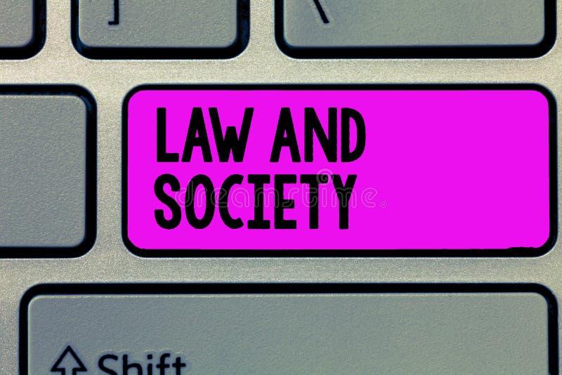 Teksta społeczeństwo I Konceptualny fotografia adres wspólny związek między prawem i społeczeństwem obraz stock