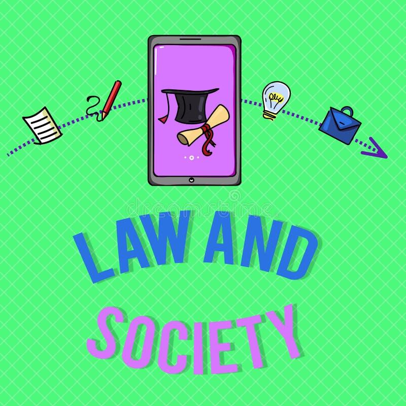 Teksta społeczeństwo I Konceptualny fotografia adres wspólny związek między prawem i społeczeństwem ilustracja wektor