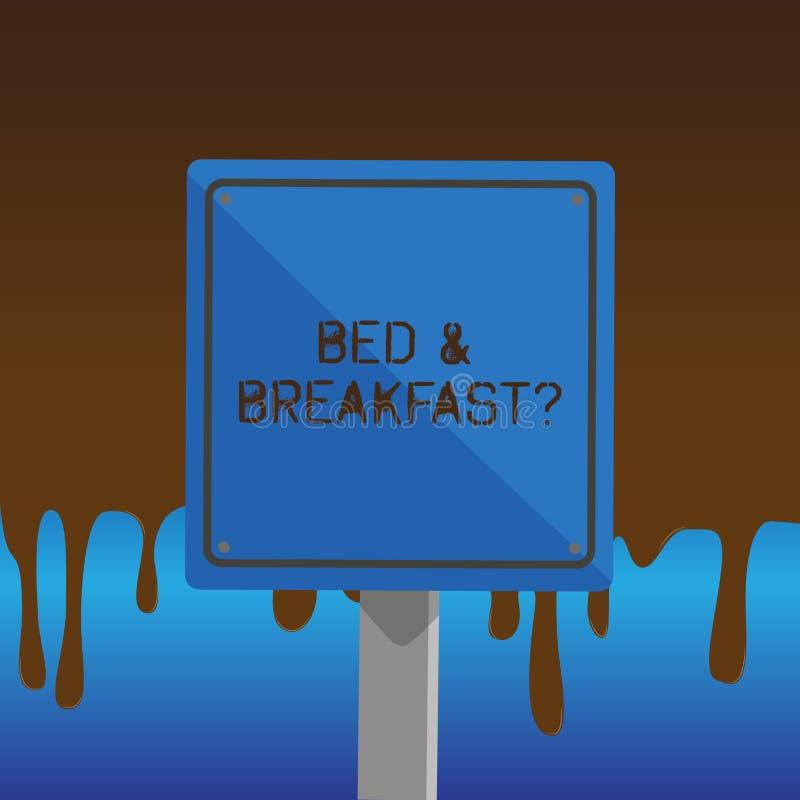 Teksta szyldowy pokazuje łóżko śniadaniowy pytanie - i - Konceptualna fotografia opisuje równy catering zawierać hotel cen 3D kwa royalty ilustracja