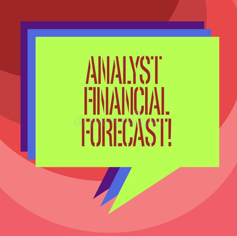 Teksta szyldowy pokazuje analityk Pieniężna prognoza Konceptualny fotografia kosztorys przyszłościowi pieniężni wyniki firmy ster ilustracja wektor