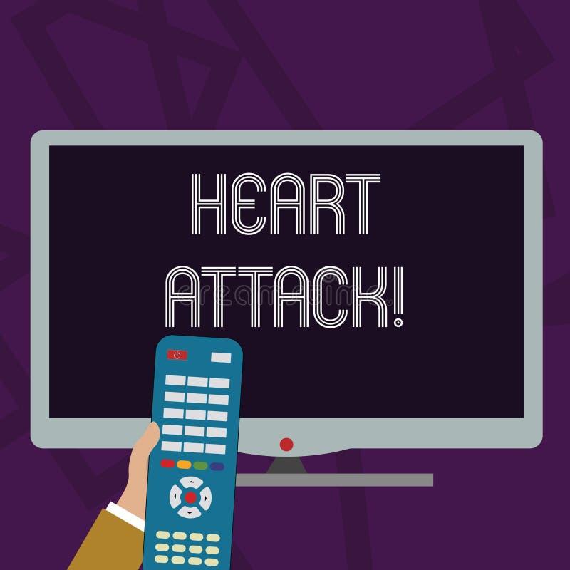 Teksta szyldowy pokazuje atak serca Konceptualnej fotografii nagły występowanie wieńcowy zakrzepica wynikający w śmiertelnej ręce ilustracji