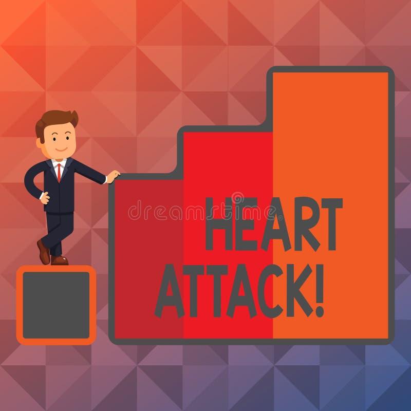 Teksta szyldowy pokazuje atak serca Konceptualnej fotografii nagły występowanie wieńcowy zakrzepica wynikający w śmiertelny Szczę royalty ilustracja