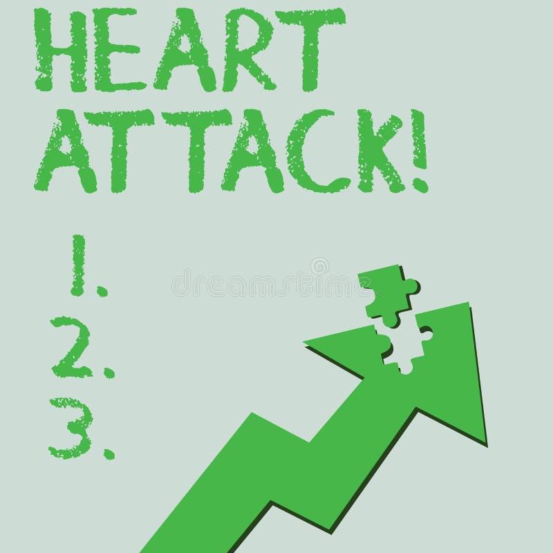 Teksta szyldowy pokazuje atak serca Konceptualnej fotografii nagły występowanie wieńcowy zakrzepica wynikający w śmiertelny Kolor ilustracja wektor
