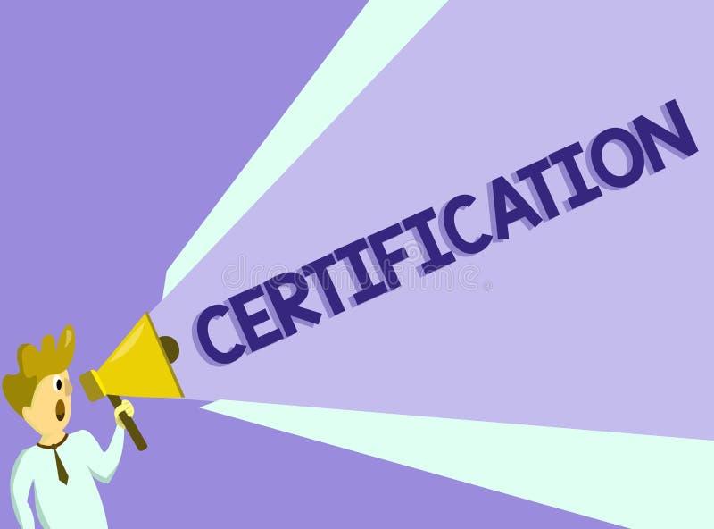 Teksta szyldowy pokazuje certyfikat Konceptualna fotografia Pod warunkiem, że someone poświadcza status z urzędowym dokumentem ilustracji