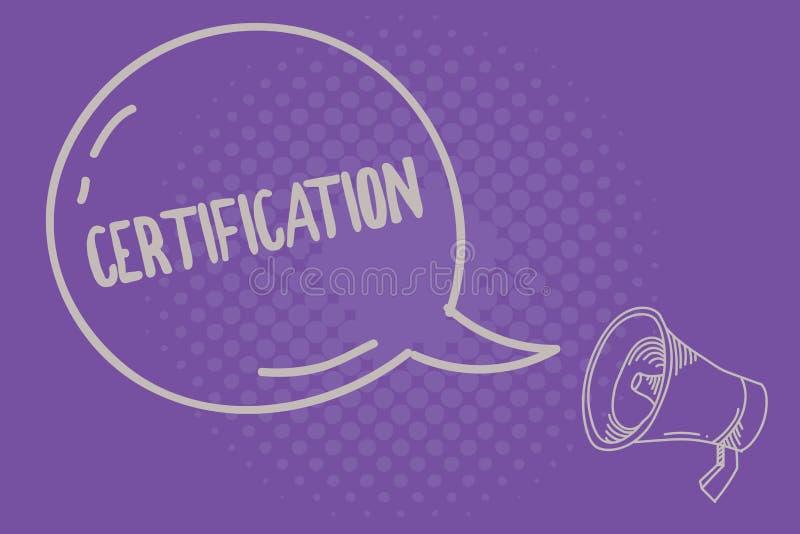 Teksta szyldowy pokazuje certyfikat Konceptualna fotografia Pod warunkiem, że someone poświadcza status z urzędowym dokumentem royalty ilustracja