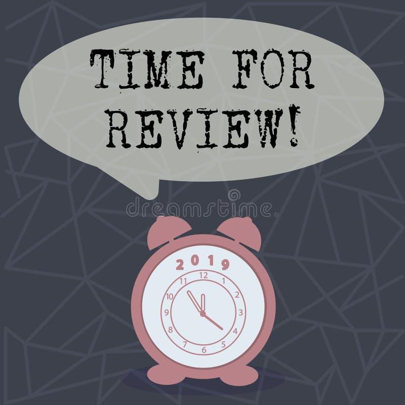 Teksta szyldowy pokazuje czas Dla przeglądu Konceptualnej fotografii informacje zwrotne momentu Perforanalysisce Szacunkowy tempo ilustracja wektor