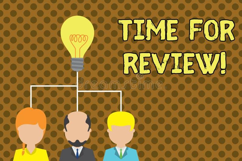 Teksta szyldowy pokazuje czas Dla przegl?du Konceptualnej fotografii formalna ocena co? z zamiarem ustanawia zmian? ilustracja wektor