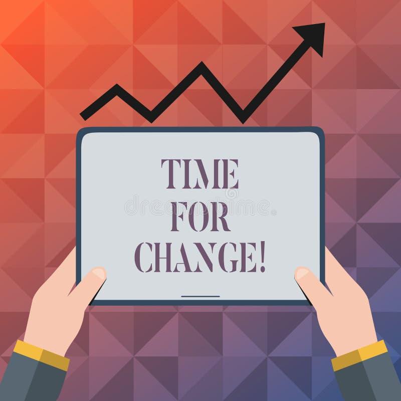 Teksta szyldowy pokazuje czas Dla zmiany Konceptualna fotografii przemiana R Ulepsza transformatę Rozwija ilustracji