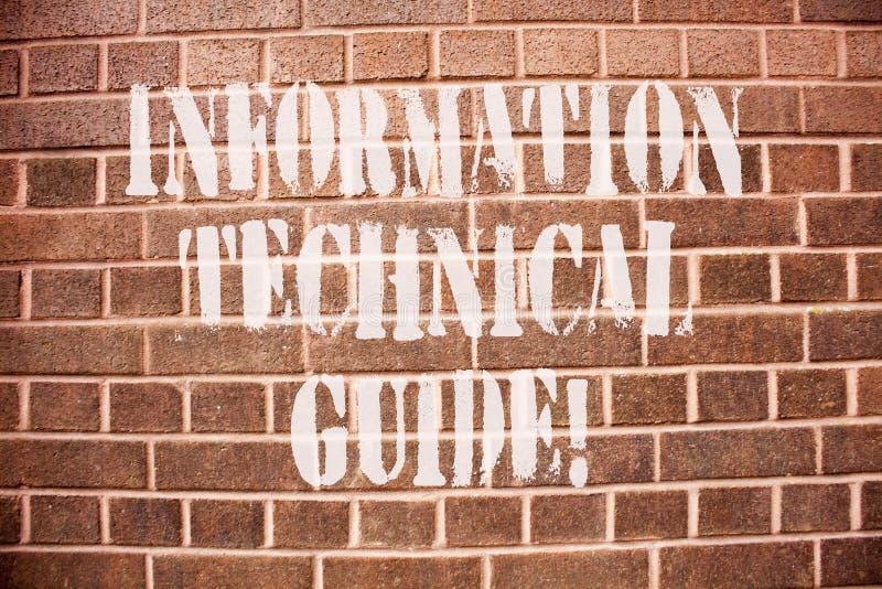 Teksta szyldowy pokazuje Ewidencyjny Techniczny przewdonik Konceptualny fotografia dokument zawiera instrukcje operacja obrazy stock