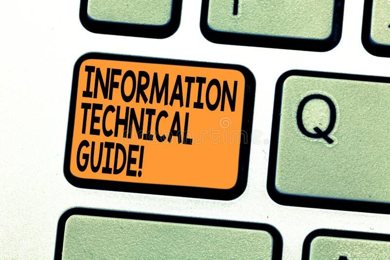 Teksta szyldowy pokazuje Ewidencyjny Techniczny przewdonik Konceptualny fotografia dokument zawiera instrukcje operacji klawiatur fotografia royalty free
